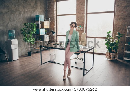 Banker woman with glasses. Office worker is ready to work with s Stock photo © NikoDzhi