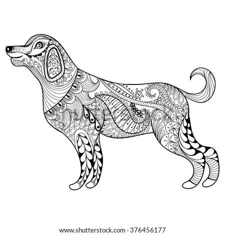 Mandala with dog for coloring. Vector decorative zentangle objec Stock photo © Natalia_1947