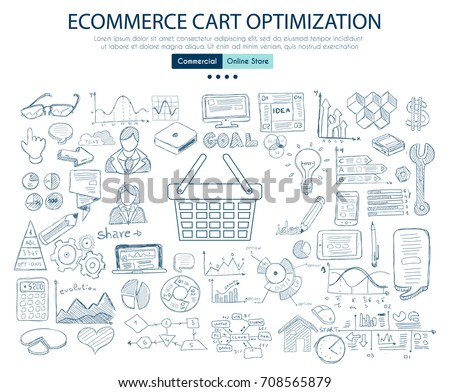 ecommerce cart optimization concept with business doodle design stock photo © davidarts