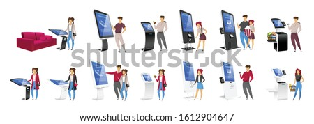 Digital Signage Touch Kiosk Set Vector. Display Monitor. Multimedia Stand. LCD High Defintion Digita Stock photo © pikepicture