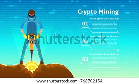 Mineração bitcoin rocha moeda virtual dinheiro Foto stock © MaryValery