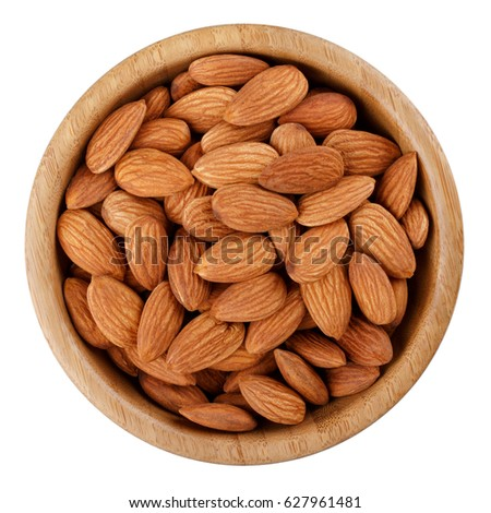 Bio organic almonds in wooden bowl isolated on white background. stock photo © ivo_13