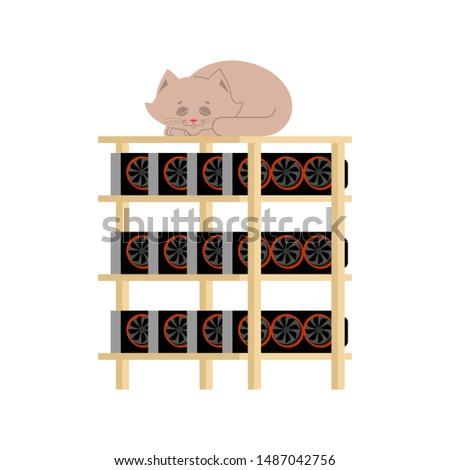 Mineração fazenda gato casa animal de estimação moeda Foto stock © popaukropa