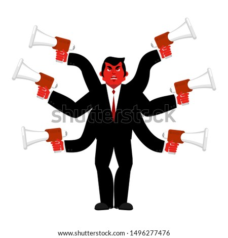 Boss and megaphone. Businessman and lots of hands. Director scol Stock photo © popaukropa