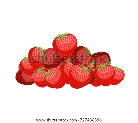 Bunch of strawberries. lot of juicy red berry. Vector illustrati Stock photo © popaukropa