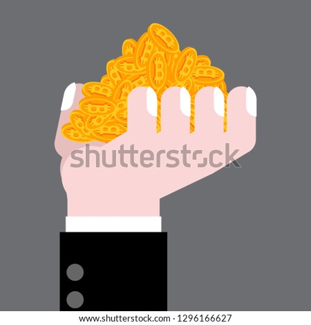 Hand is full bitcoin. Profit crypto currency. gain virtual money Stock photo © MaryValery