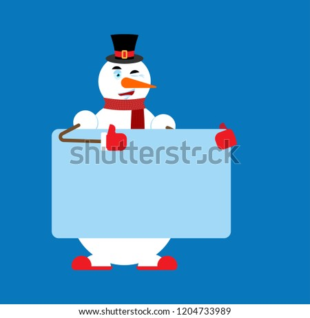 Snowman holding banner blank. place for text. New Year and Chris Stock photo © popaukropa