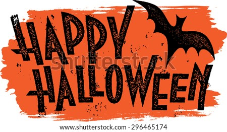 Happy Halloween vector illustration with bats, pumpkin  and spider on black background. Holiday desi Stock photo © articular