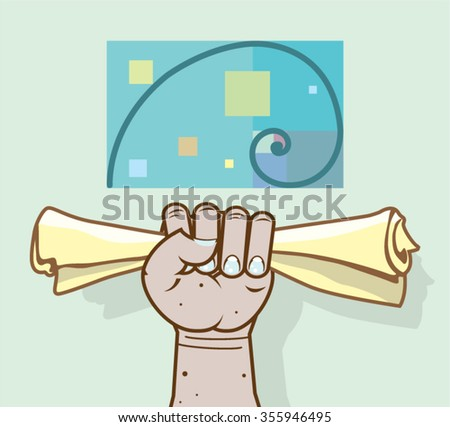 Stock photo: Human hand holds a paper roll secret article illustration clip-a