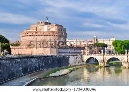 Castle of Holy Angel and Holy Angel Bridge over the Tiber River  Stock photo © vwalakte