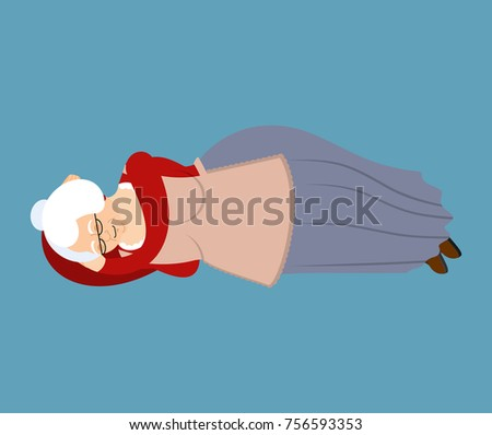Grandmother sleeping. Grandma asleep emoji. Old lady Vector illu Stock photo © popaukropa