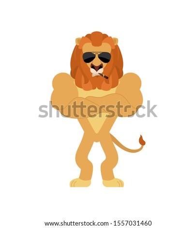 Lion Strong Cool serious. Wild animal smoking cigar emoji. beast Stock photo © popaukropa