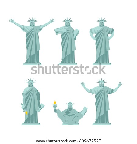 Statue of Liberty set poses. Attractions america set of movement Stock photo © popaukropa