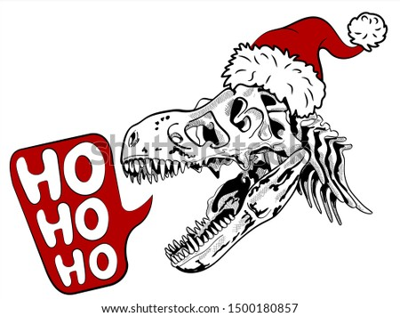 Dinosaur Santa Claus. T-Rex in  Christmas hat. Tyrannosaurus wit Stock photo © popaukropa