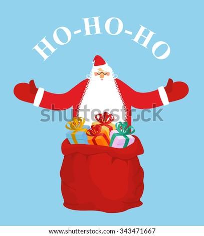 Santa Claus and gift bag. HO-HO-HO. Jolly Santa wishes you  happ Stock photo © popaukropa