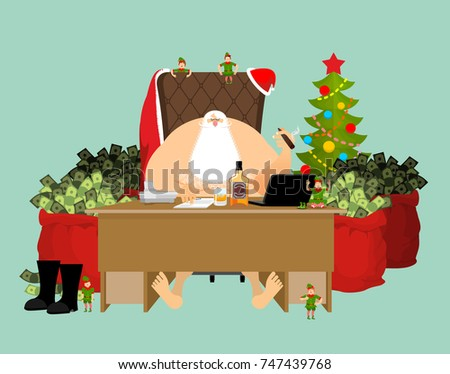 Santa after work relaxes. Rich Claus and red bag with money. Dri Stock photo © popaukropa