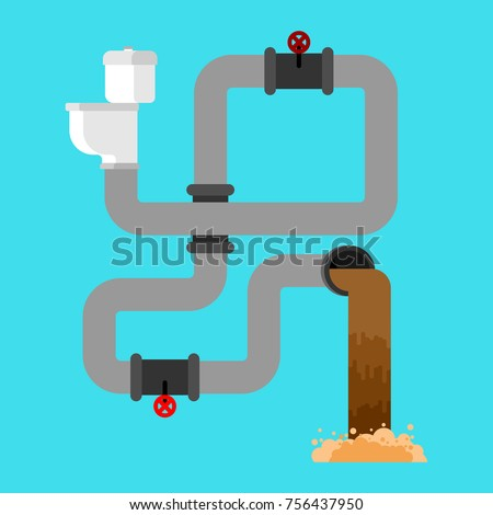 Sewage system. Toilet bowl and sewer. Wastewater. Vector illustr Stock photo © MaryValery