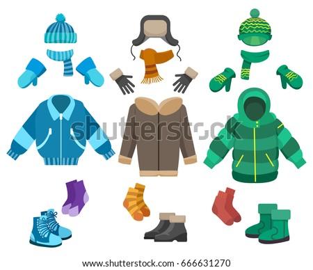 Ingesteld kleding koud weer winter gebreid Stockfoto © popaukropa
