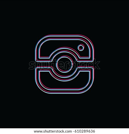 Kamery fotografii neon świetle marka firmy Zdjęcia stock © vector1st