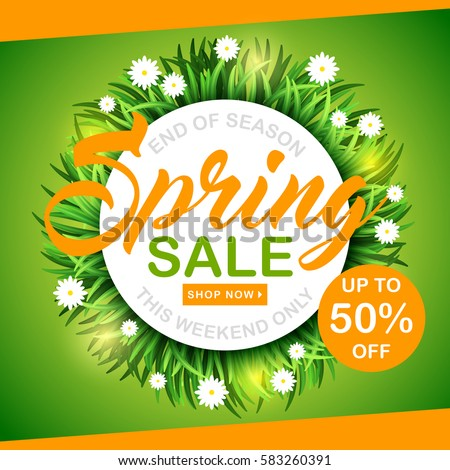 Big spring sale poster, green background with daisy flowers, vector Illustration. Stock photo © ikopylov