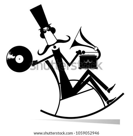 男 ロッキングチェア 音楽 レコードプレーヤー 孤立した 口ひげ ストックフォト © tiKkraf69