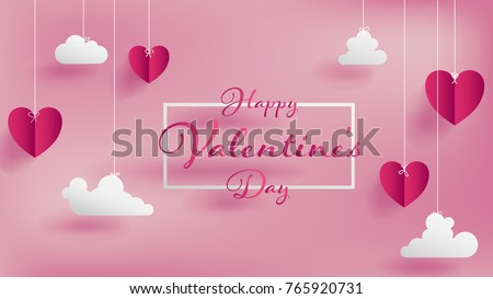 Happy Valentines Day Design with Color Balloon Heart and Typography Letter on Shiny Red Background.  Stock photo © articular