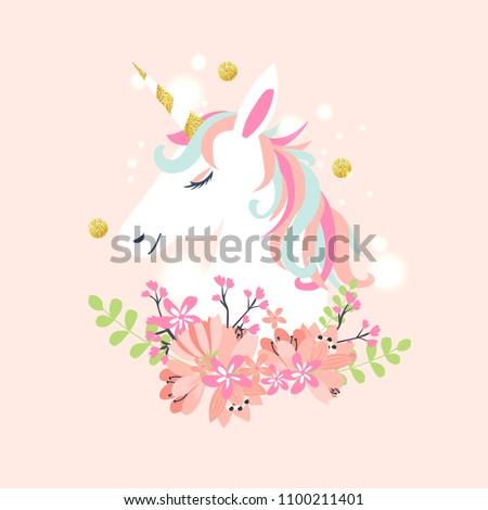 Unicorn pink isolated. Rainbow Mane. Fairy Horse with Horn. Vect Stock photo © MaryValery