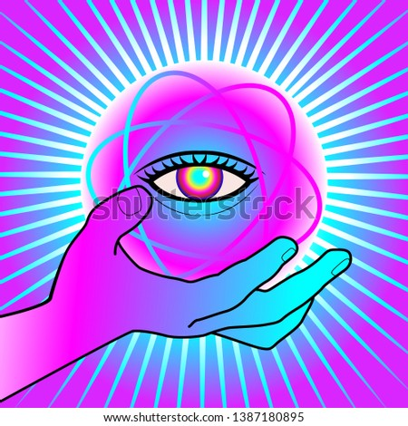 Magic ball with eyes of predictions isolated. Clairvoyant Access Stock photo © MaryValery