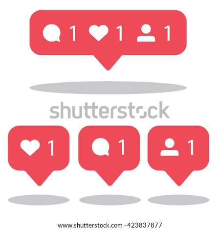 Symbols for social network. Notification icons social media notification. Template heart, comment, r Stock photo © AisberG