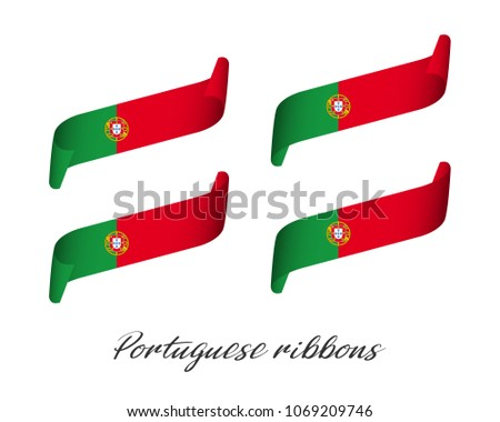 Set of four modern colored vector ribbons in Portuguese colors isolated on white background, flag of Stock photo © kurkalukas