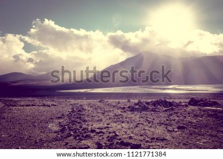 Sunset on laguna colorada in sud Lipez Altiplano reserva, Bolivi Stock photo © daboost