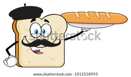 Kenyérszelet rajzfilmfigura bajusz bemutat tökéletes francia kenyér Stock fotó © hittoon