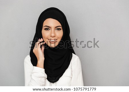 Portrait closeup of muslim prayer woman 20s in religious headsca Stock photo © deandrobot