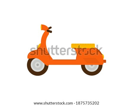 Vector orange retro scooter, flat style side view. Moped for delivery, scooter for tourism Stock photo © MarySan