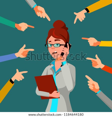 Victim Businessman Vector. Quilt Accusation. Frustrated Employee. A Lot Of Hands With Pointing Finge Stock photo © pikepicture