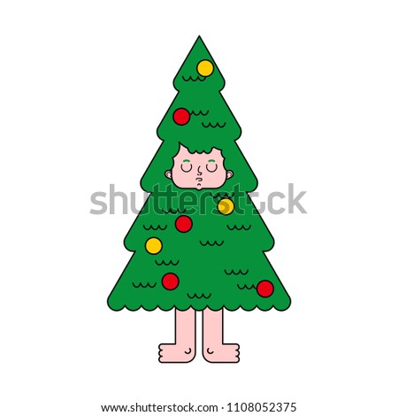 Christmas tree costume. Spruce man inside. New Year Vector illus Stock photo © MaryValery