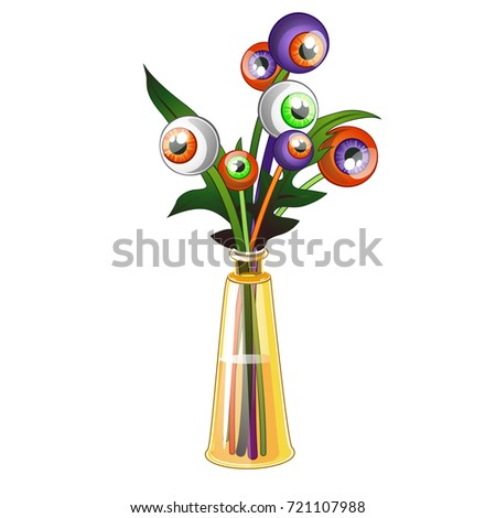 unusual bouquet of colored human eyes isolated on white background vector cartoon close up illustra stock photo © lady-luck
