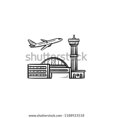 Plane taking off at the airport hand drawn outline doodle icon. Stock photo © RAStudio