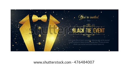 Vector horizontal black and white event invitations. Black bow tie businessmen banners Stock photo © Iaroslava