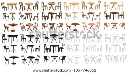 quarto · marrom · cadeiras · prateleiras · para · livros · ilustração · casa - foto stock © lady-luck