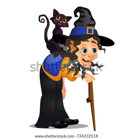 öreg boszorkány sétál bot fekete macska váll Stock fotó © Lady-Luck