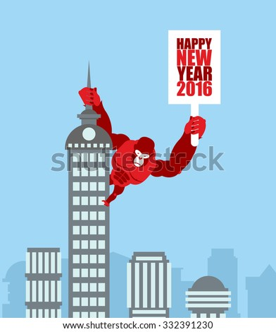 Monkey on skyscraper. King Kong holds a sign with new year. Huge Stock photo © popaukropa