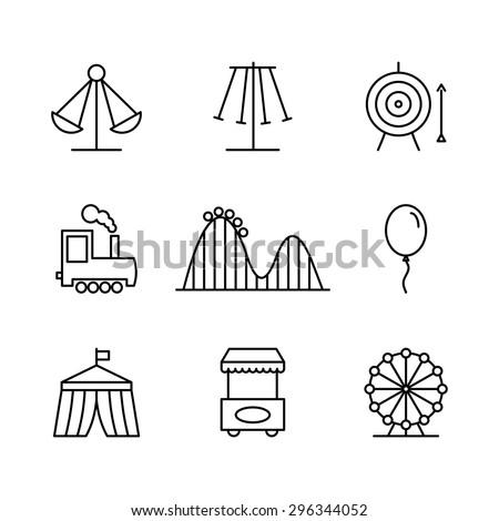 Train in amusement park - thin line design style vector illustration Stock photo © Decorwithme