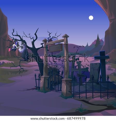 Geier Zweig toter Baum alten Friedhof Nacht Stock foto © Lady-Luck