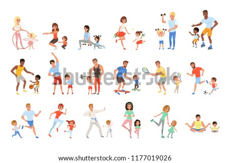 young sport family with children running vector isolated illustration stock photo © pikepicture