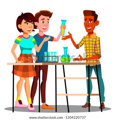 Group Of Students Standing At Table With Flasks, Chemistry Lesson Vector. Isolated Illustration Stock photo © pikepicture