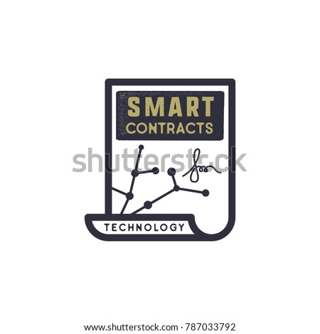 Smart Contract Ethereum based emblem. Blockchain Technology concept. Vintage Hand drawn business log Stock photo © JeksonGraphics