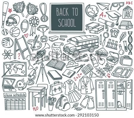 vektor · vissza · az · iskolába · szett · középiskola · tárgy · tanszerek - stock fotó © kollibri