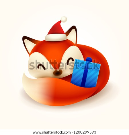 Noël · cute · peu · Fox · rouge · cap - photo stock © ori-artiste