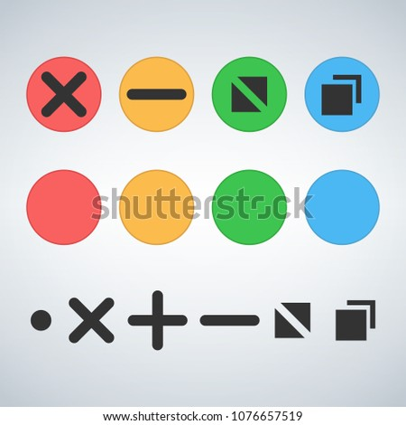 Clean OS or Web multicolor buttons template Close minimize zoom full screen and expand button. Flat  Stock photo © kyryloff